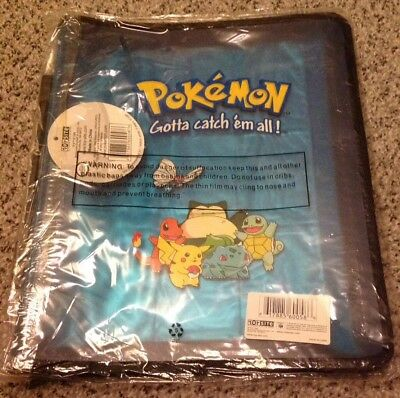Pokemon Folder Nintendo 3 Ring Zip Binder & Pages Blue NEW 1999. Extremely RARE