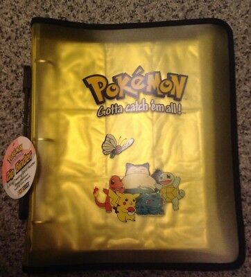 Pokemon Folder Nintendo 3 Ring Zip Binder Gold & Pages NEW 1999. Extremely RARE