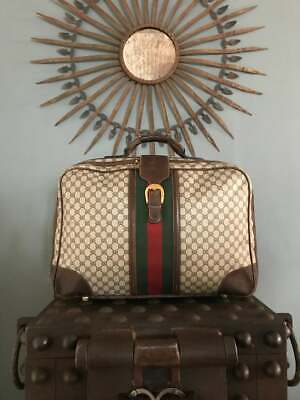 "Vintage 1980s GUCCI GG Monogram 24"" Inch Suitcase Luggage Travel Bag Very Rare"