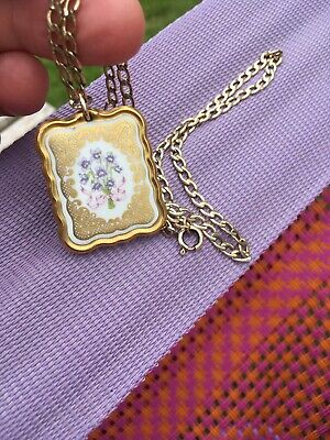 """Pretty Limoges Effect Double Sided Floral Pendant On 17.5 """"Rolled Gold Chain."""