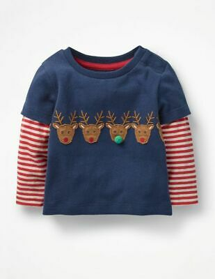 Mini Boden Baby Boys Layered Reindeer Christmas Applique Striped T-Shirt top LS