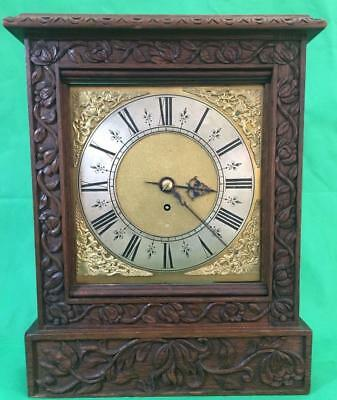Antique 8 Day Fusee Bracket Clock With Tudor Style Case And Rococo Spandrels