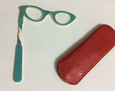 1950s LADIES' LORGNETTE/OPERA GLASSES/TURQUOISE+WHITE DOTS/LONG TWISTED HANDLE