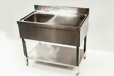Stainless Steel Right Hand Drainer Commercial Restaurant Catering Sink + Shelf