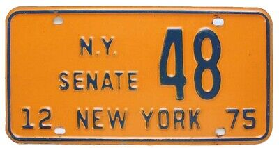 New York 1975 STATE SENATE License Plate, Low Number 48, Political, Government
