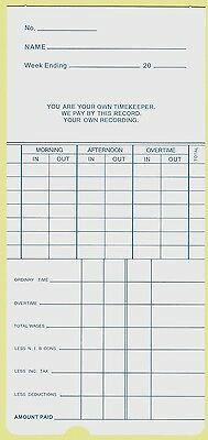 250 Weekly Clock Cards, Time Cards S-210/990W
