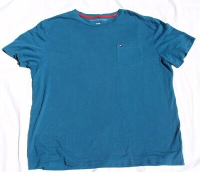 Tommy Hilfiger T-Shirt Mens Crew Neck Tee Classic Fit Short Sleeve Solid Blue