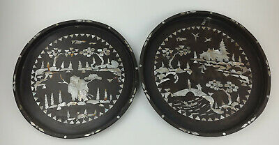 Antique Vintage Black Lacquer Mother of Pearl Round Wall Hanging x 2