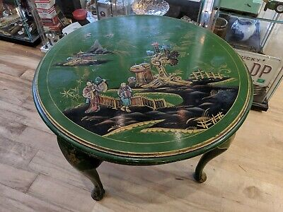 Oriental Chinese Japanese Lacquered Unusual Green Coffee Side Table Glass Top