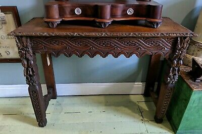 Early 19th Century Antique Ornate Carved Wood Side Table Vintage Sideboard