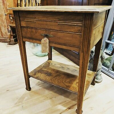 Edwardian French Oak sewing or side table, complete cabinet w/ original key
