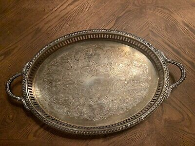 Vintage Large Oval Sheridan Silverplate Chased Footed Serving Tray with Handles