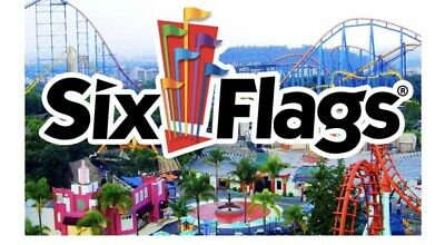 2 (Two) Six Flags Single Day General Admission Tickets - Any US Six Flags Park
