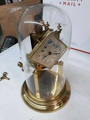 Brass Clock Euramca Trading Corp. Glass Dome Working Condition German Germany