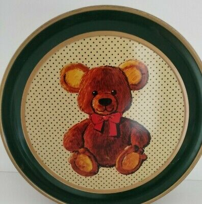 Vintage decorative tin box with a bear for children's room