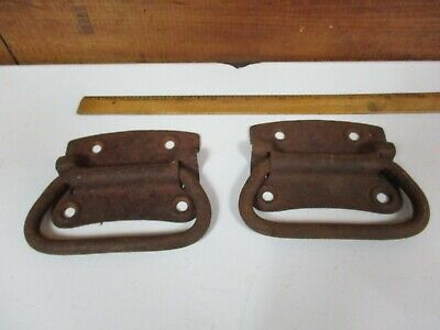 Pair Antique Cast Iron Metal Trunk Side Handles Architectural Hardware H435