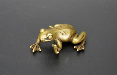 Exquisite Chinese Old Pure brass handwork frog small statue YR