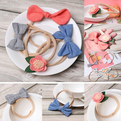 Newborn Baby Headband Infant Girls Toddler Bow Nylon Hair Band Accessories