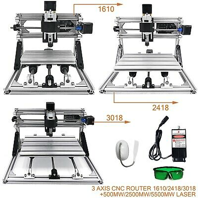 3 Axis CNC Router Kit 1610/2418/3018 + 500mw/2500mw/5500mw Laser Engraver Tools