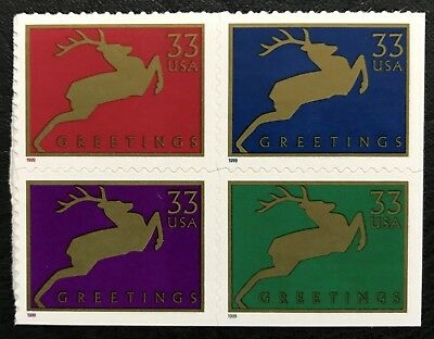 1999 Scott #3360-63, 33¢, CHRISTMAS DEER - Mint NH - Booklet Block of Four