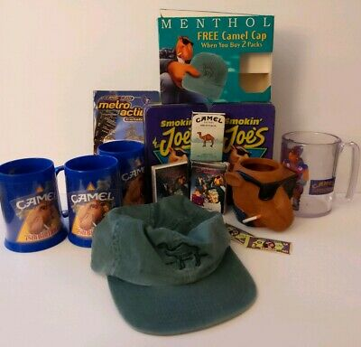 Vintage Joe Camel Lot 8pc Camel Cigarettes Mug Hat Koozie