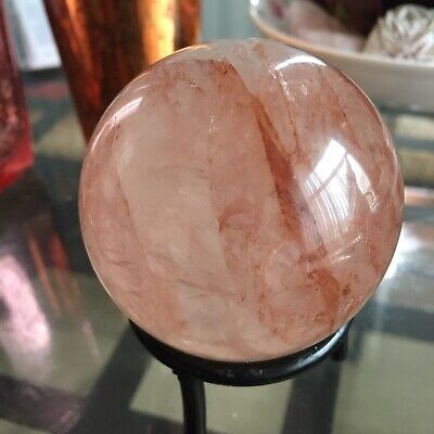 NATURAL Hematoid Red Fire Quartz Crystal Ball Scrying Sphere Healing Crystals