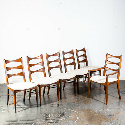 Mid Century Modern Dining Chairs Set 6 Ladder Back Lane Rhythm Bow Tie Vintage