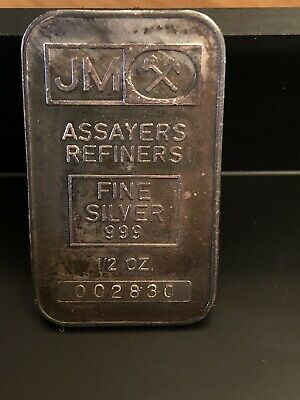 Rare 1/2 oz fine silver .999 JM bar Johnson Matthey nice toning, blank back