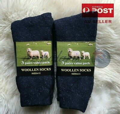 Men's size 6-11 Thick Merino Wool Work Tough Warm Thermal Hiking Camp Socks