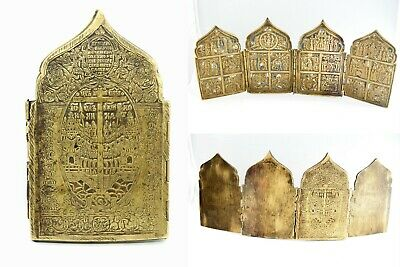 Antique Russian Imperial Christian Orthodox Bronze with Enamel 4 Panel Icon 18C