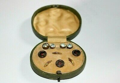 Set Of Antique Art Nouveau Mother Of Pearl Buttons With Paste Studs In Case.