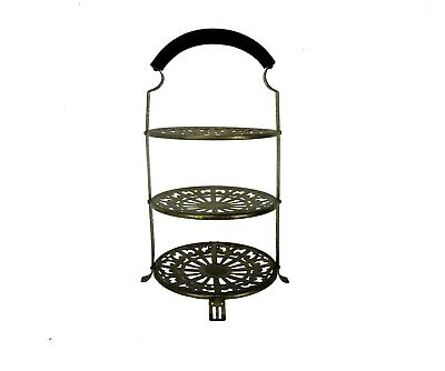 Art Nouveau 3 Tier Wedding Cake Stand Manning Quality Bowman Meriden Brass WOW