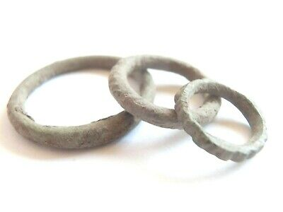 IRON AGE Ancient CELTIC Bronze Ring PROTO MONEY 3pcs -one KNOBBED Hallstatt cult