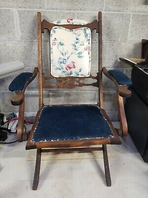 Antique Folding Ornate Chair-Wood With Original Blue fabric
