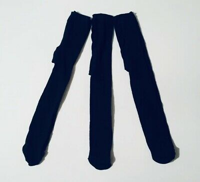 Miss Fiori Girls Plain Navy Tights Age 2-3 Years 3 Pack Dark Blue Cotton