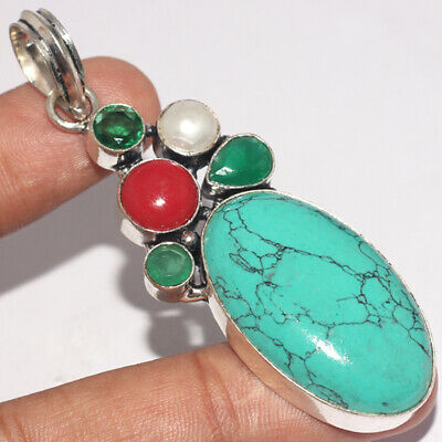 ZH1277 Turquoise, Coral, Emerald, Pearl 925 Silver Plated Handmade Pendant 2.6""