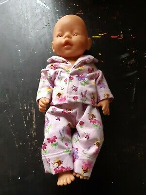 Homemade Baby Born Pink  With Flowers and Bees Pyjama Set
