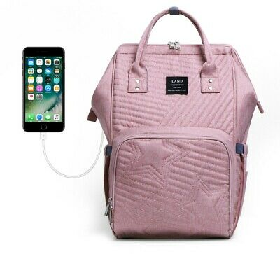LAND Mommy Baby Diaper Bag Nappy Backpack With Stroller Hook and USB Charging
