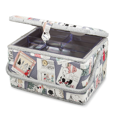 Sewing Basket PARIS Design EXTRA LARGE Size Box NEW - Slight Second Bargain !!