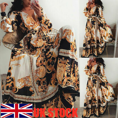Womens Boho Long Dresses Ladies Summer Beach Party Floral Maxi Dress Plus Size