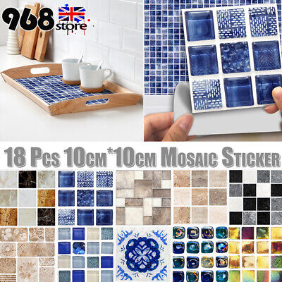 Waterproof Mosaic Stick On Self Adhesive Wall Tile Stickers Anti Oil For Kitchen