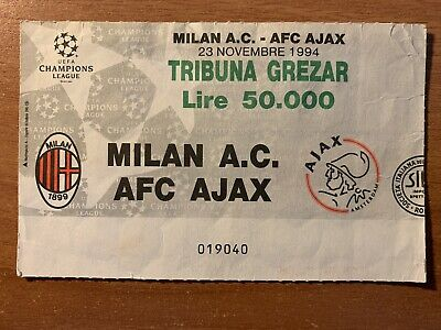 Biglietto Stadio Ticket Milan-Ajax Champions League 1994/'95 - Trieste, 23/11/94