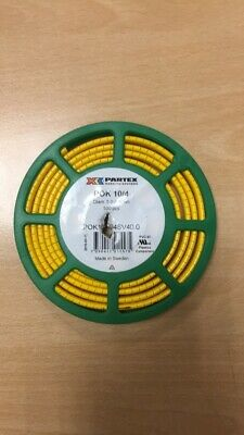 Partex Pok10/4 Cable Marker, Black On Yellow,  500 On Disc - Various