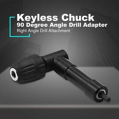 90 Degree Right Angle Keyless Chuck Cordless Impact Drill Adapter Attachment Hy