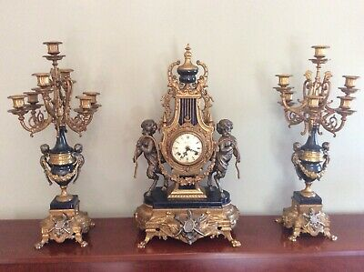 Huge Louis Xiv Style Gilt Brass Clock Garniture Imperial Italy Working Free Post