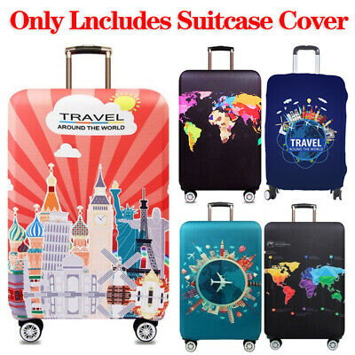19-32in Elastic Luggage Case Protector Cover World Map Suitcase Travel Fashion