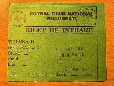 Biglietto Ticket National Bucarest-Bologna Uefa Intertoto Cup 1998/'99 Perfetto