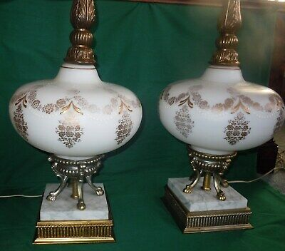 """Vtg PAIR Large 35"""" MCM/Hollywood Regency Brass/Marble/Glass Table Lamps 3-Way"""