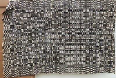 """Great  Antique Early American 2 Panel Overshot """"Dazzler"""" Wool Coverlet"""