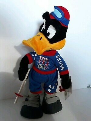 """RARE Daffy Duck 18"""" USA Official Mascot 1998 Olympics Soft Toy/Skiing Team"""